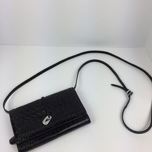 Brighton Black Leather Wallet with Crossbody Strap